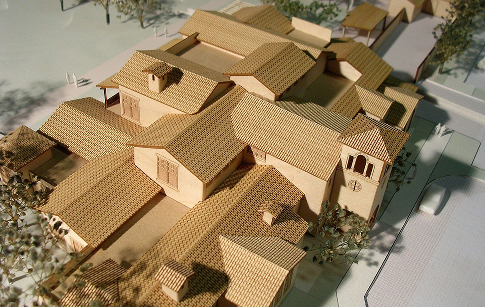A rooftop view of an architectural model for a vinyard