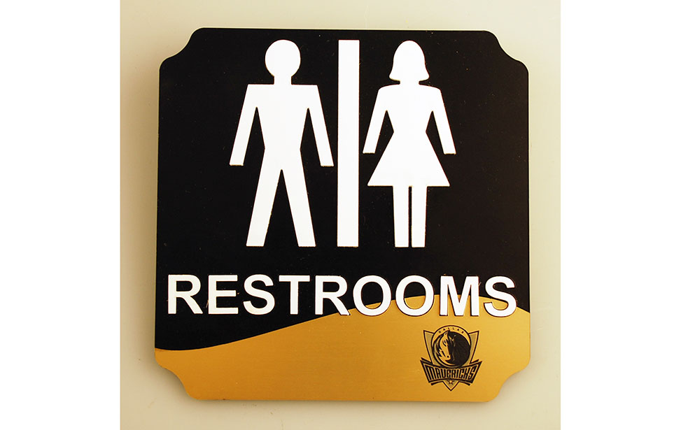 Laser Cut Restrooms Sign