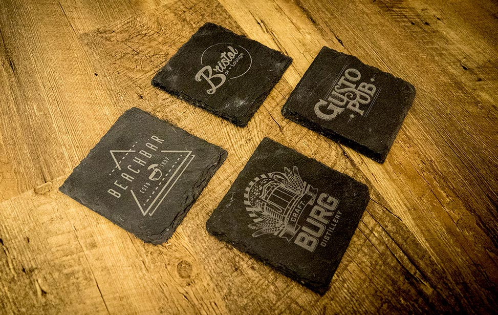 Engraved Slate Coaster Set