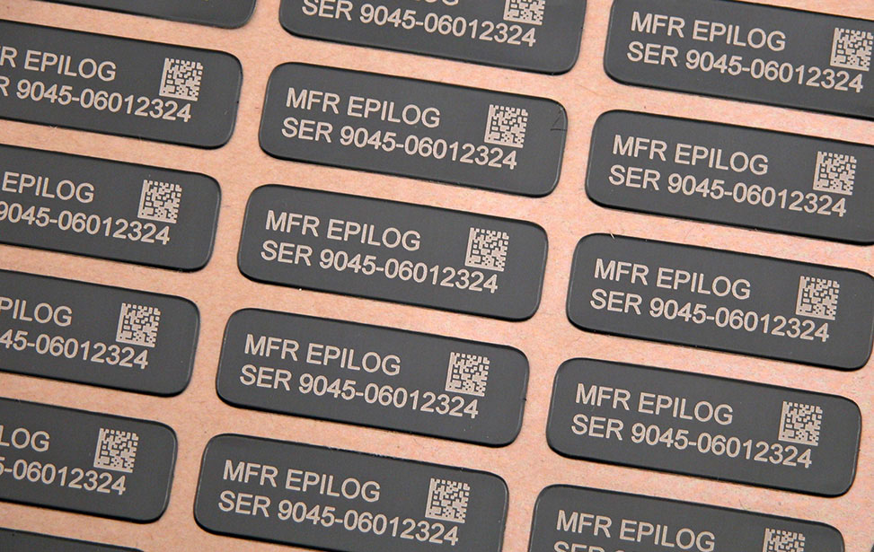 Anodized aluminum sticker labels engraved with bar code and serial number