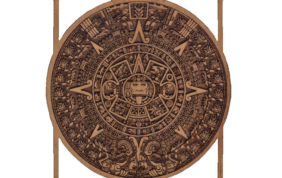 Detailed Aztec Calendar on Wood