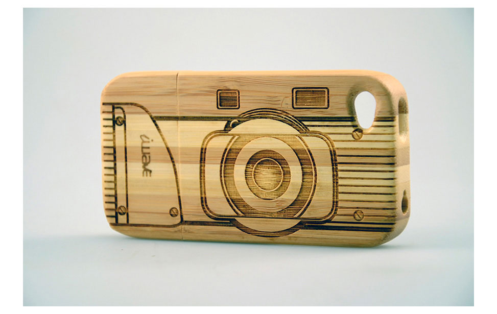 Engraved Camera on Bamboo Case