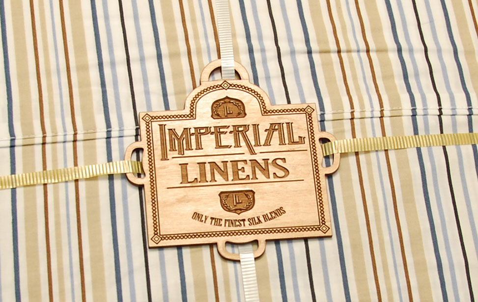 Laser Engraved Wooden Linens Label