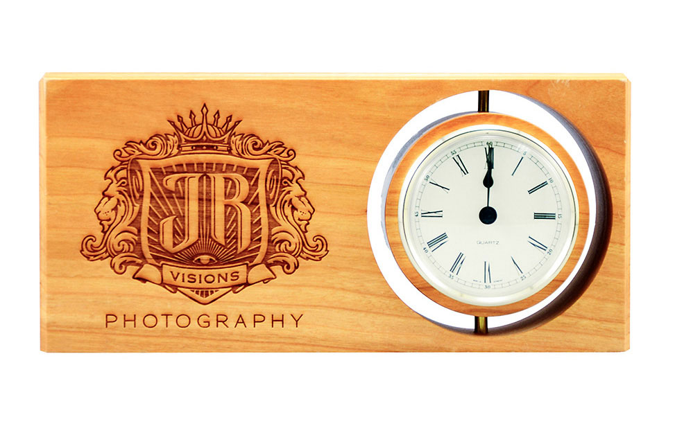Engraved Wooden Desk Clock