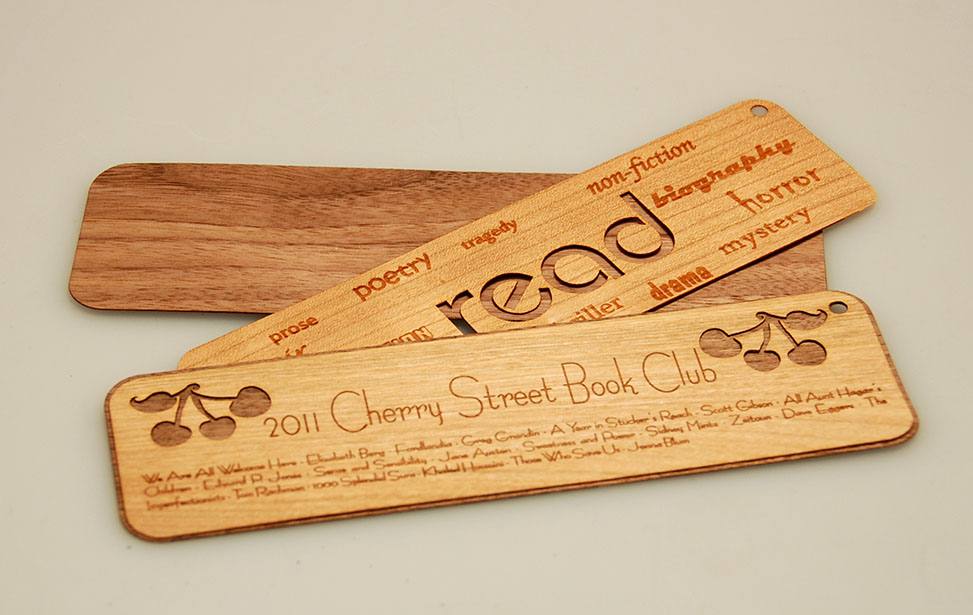 Laser Cut and Engraved Wooden Bookmarks