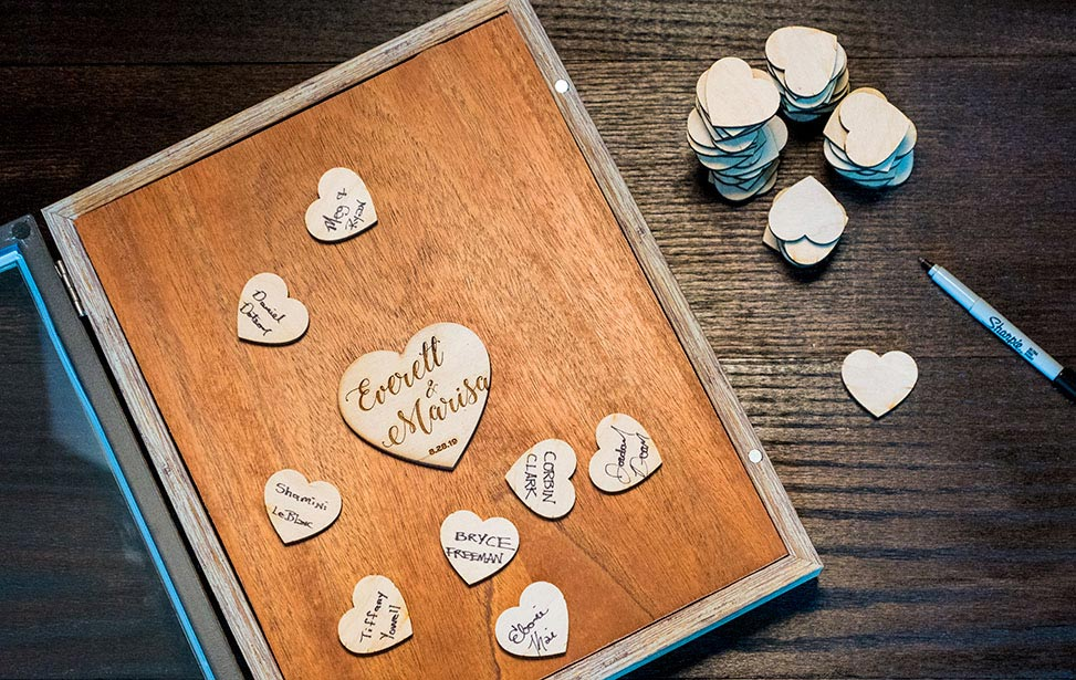 Laser Cut Wedding Guestbook Shadow Box