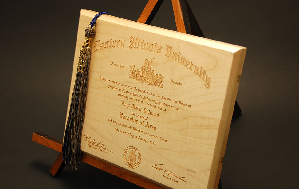 Laser Engraved Wooden Diploma