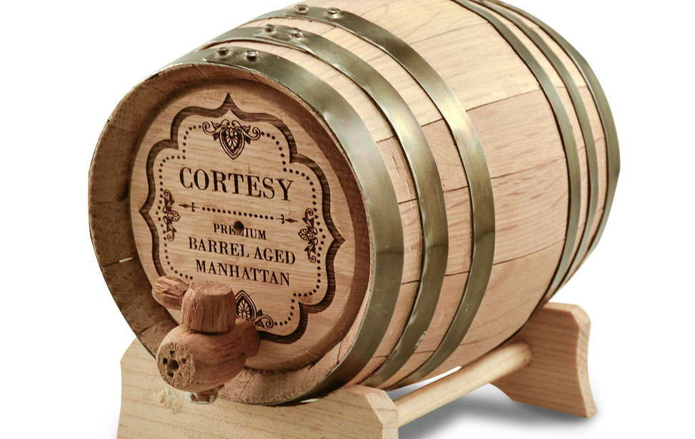 Laser Engraved Whiskey Barrel