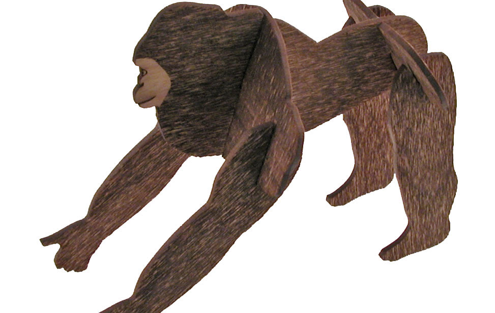 Wood Gorilla Model