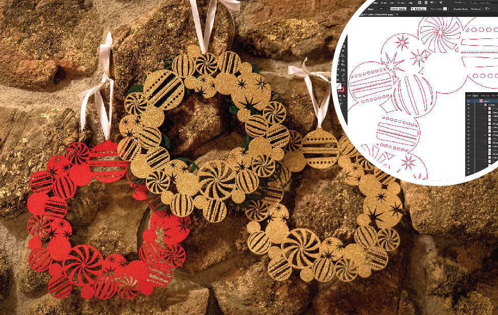 Painted, laser-cut christmas wreaths.