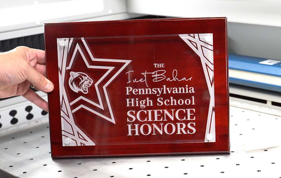 clear acrylic high school science award