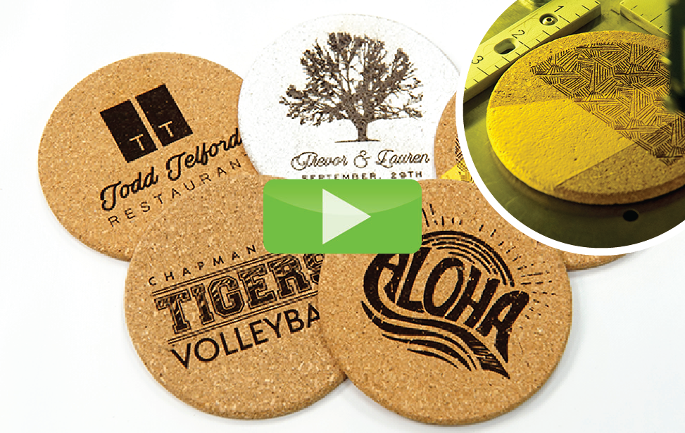 cork coasters laser engraving video