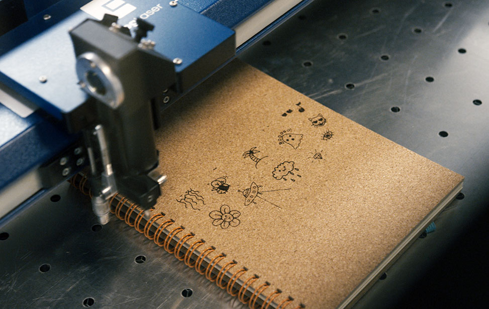 laser engraved cork notebook