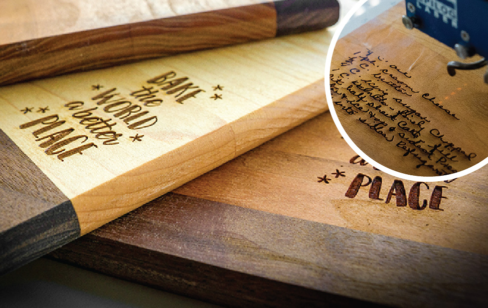 laser cut and engraved cutting boards