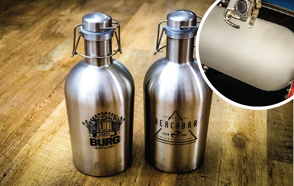 stainless steel growlers laser engraving video