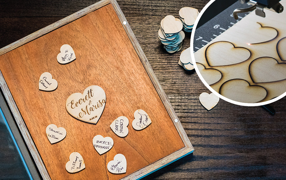 wedding guestbook shadow box engraving and cutting video