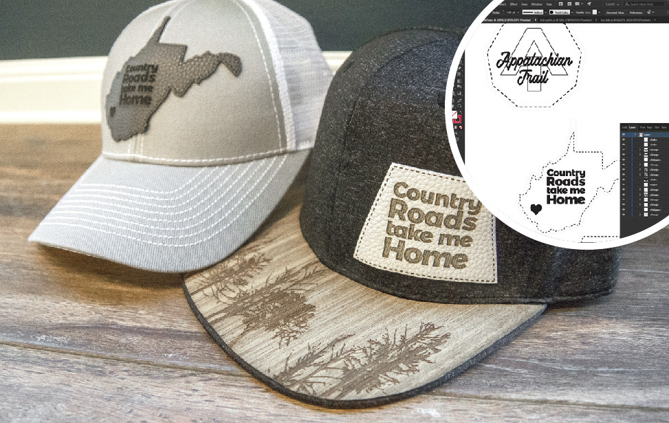 Laser-engraved hat and brim patches.