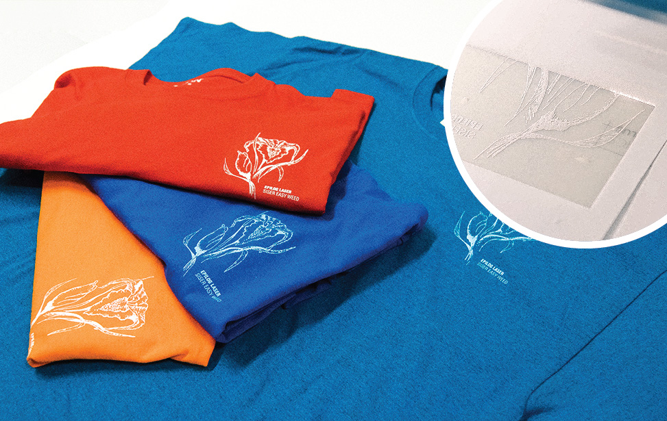 Graphic shirts made with laser engraved heat transfer material