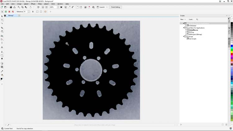 click on the black chainring area