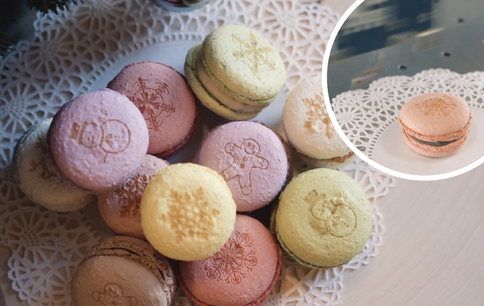 Laser-engraved holiday macarons.