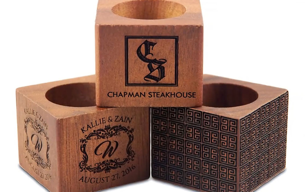 wedding napkin ring laser engraving video