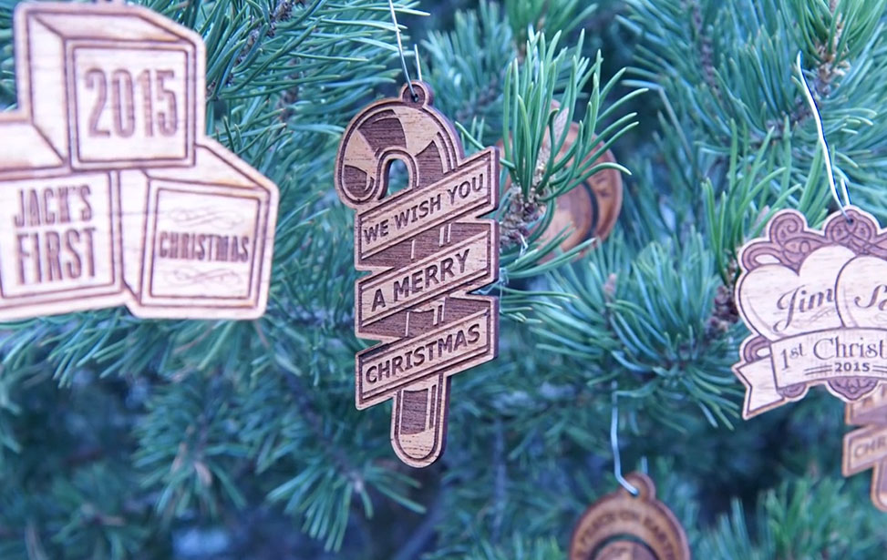 laser cut and engraved wooden ornament video