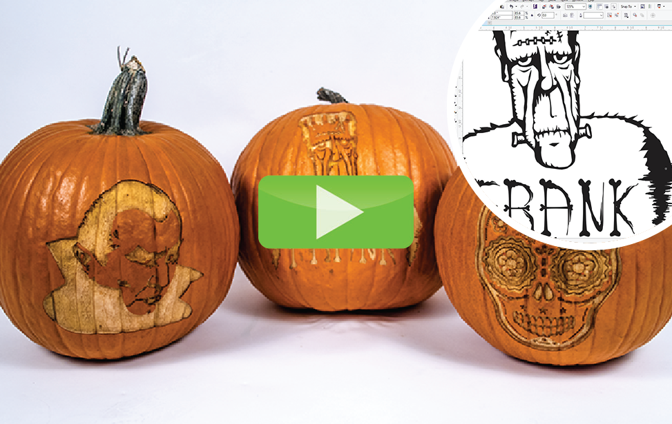Halloween video de dovleac gravura laser