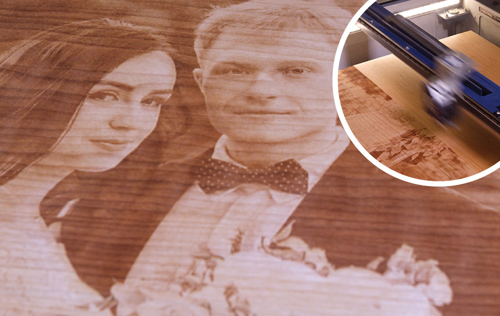 laser engraved wedding photo
