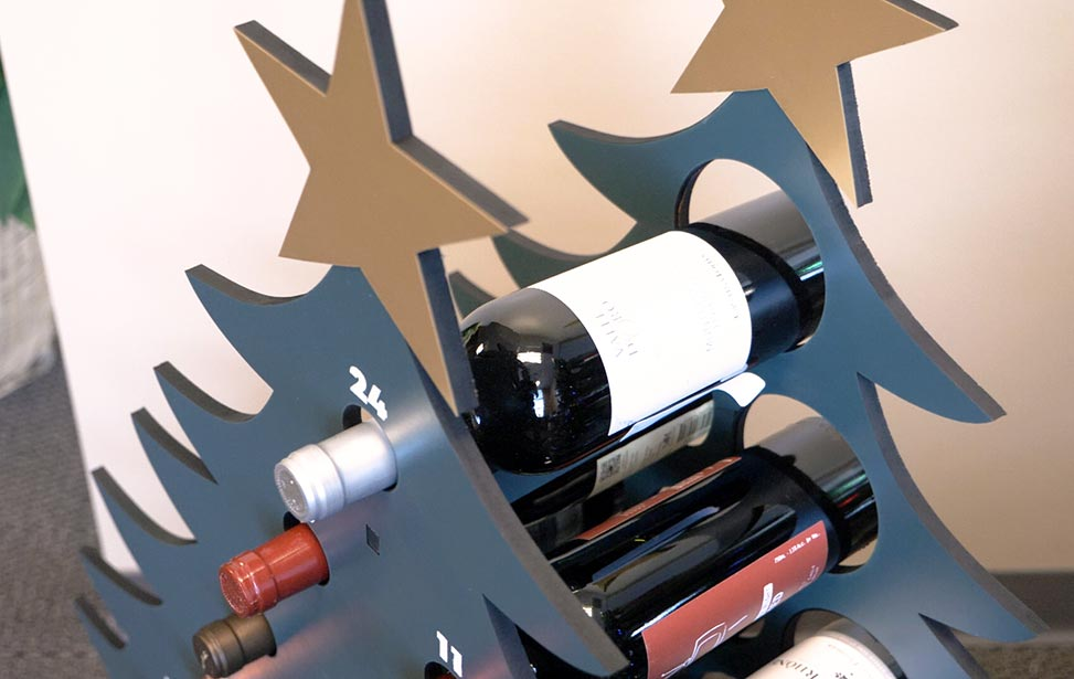 laser cut wine advent tree calendar