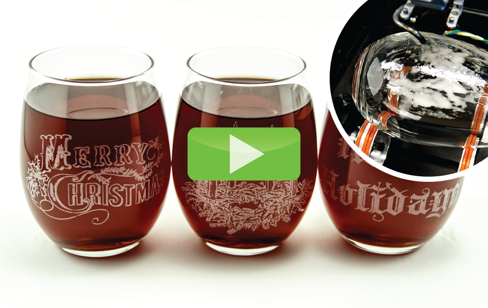 holiday wine glasses laser engraving video