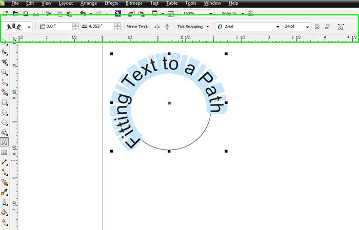 Drawing Lines Shapes Or Text On Bitmaps : Placing text on a path in coreldraw