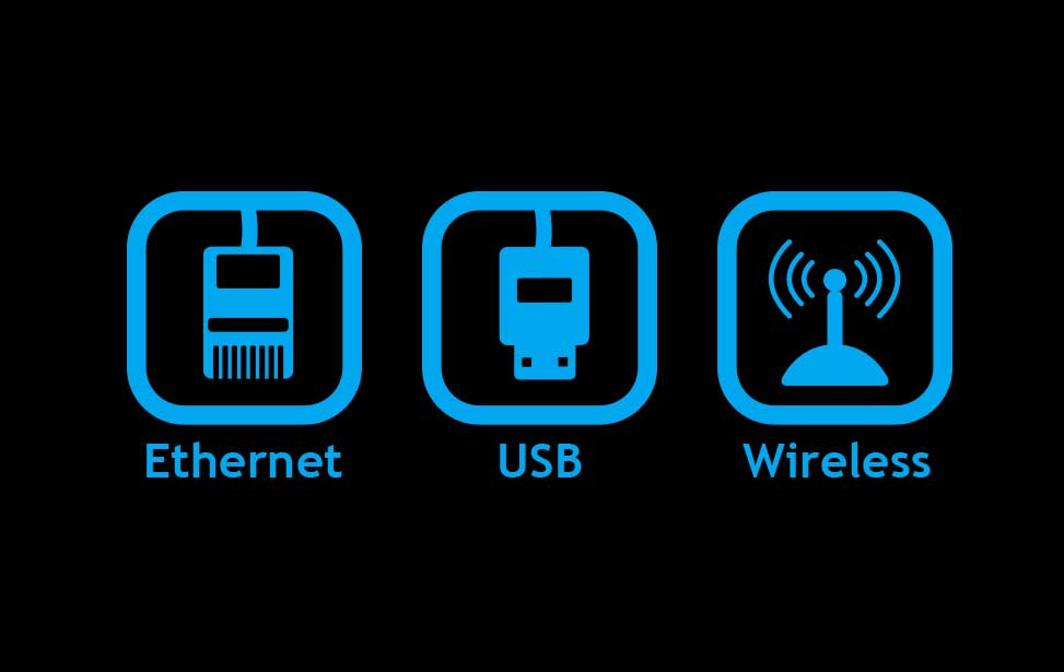 Connessioni Ethernet, USB e wireless