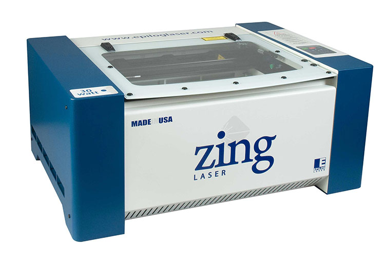 A 30-watt Epilog Zing 16 laser machine.