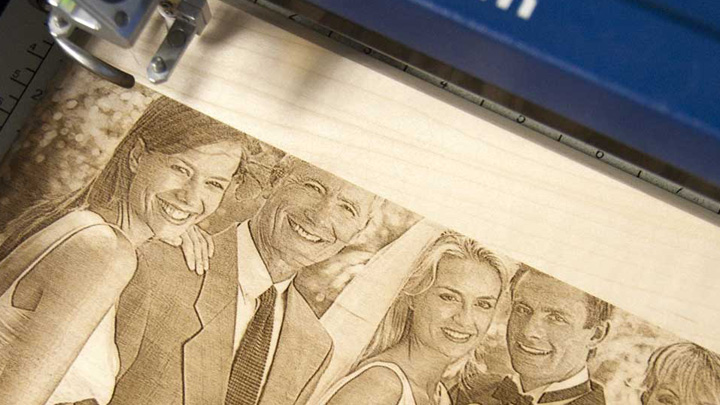 wedding photo laser engraved in wood