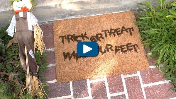 halloween decor coir doormat diy project