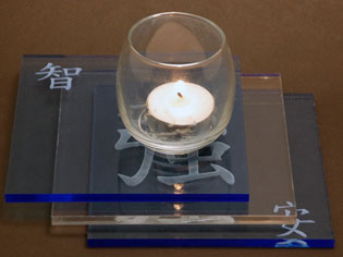 engraved acrylic candle holder.