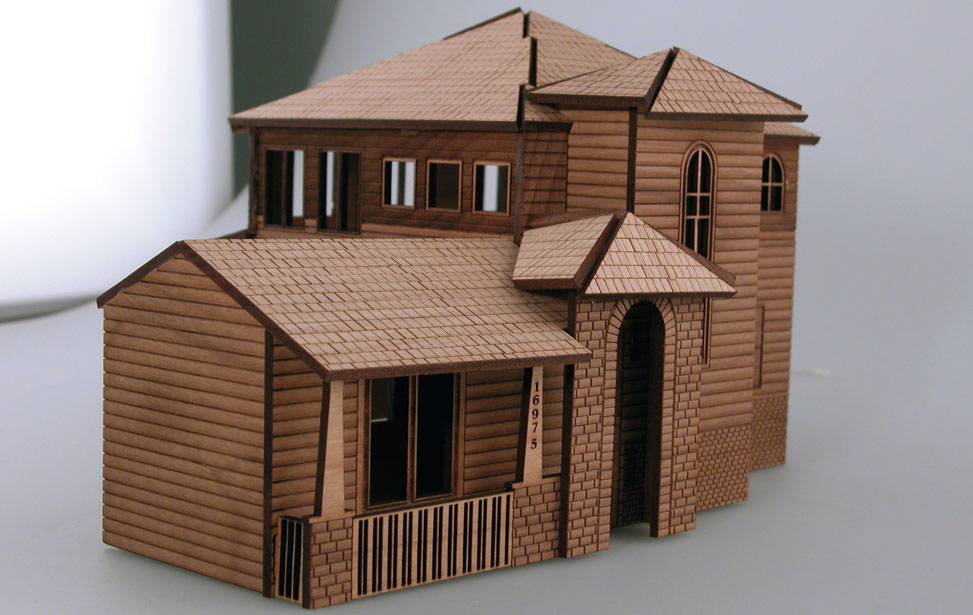 laser cut architectural model house