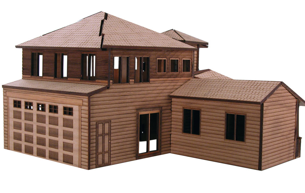Back of the architectural model. Architectural Model House Laser Cutting