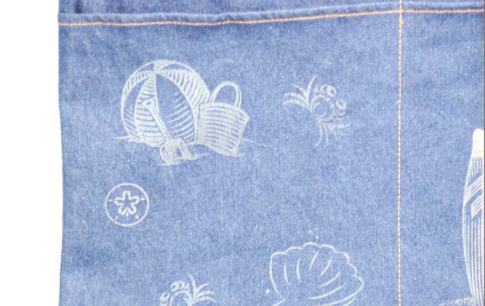 close up denim engraving