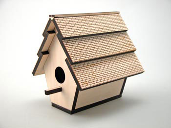 Laser cut birdhouse.