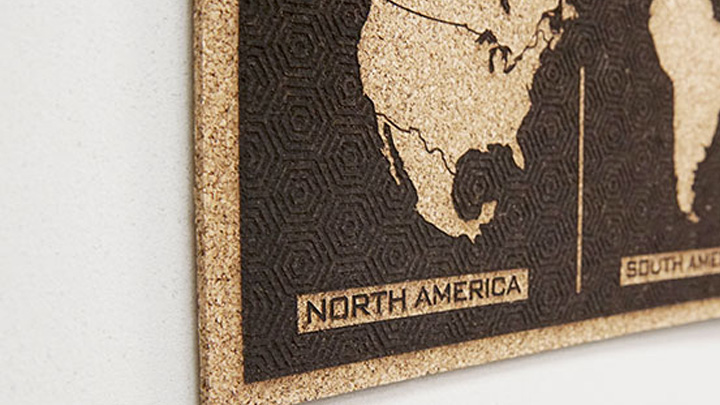Laser Cut World Map.Laser Engraved Cork Tile World Map