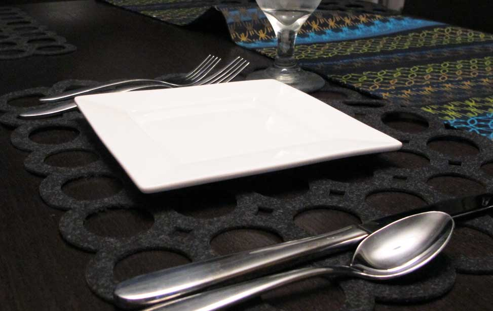 black felt laser cut placemat