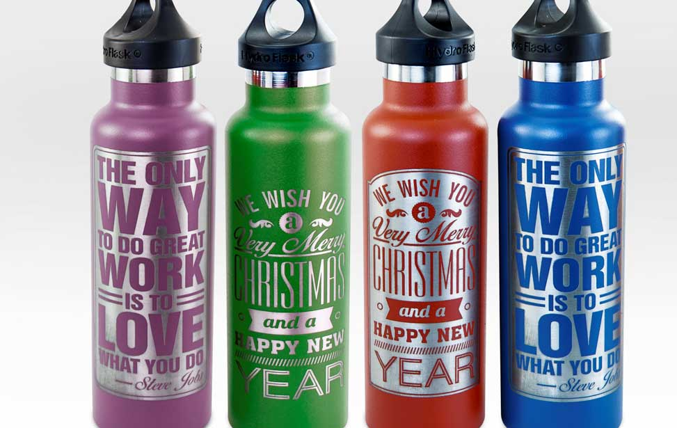 laser engraved powder-coated water bottles