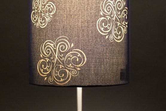 Engraving a fabric lamp shade fabric lamp shade engraved and lit aloadofball Image collections