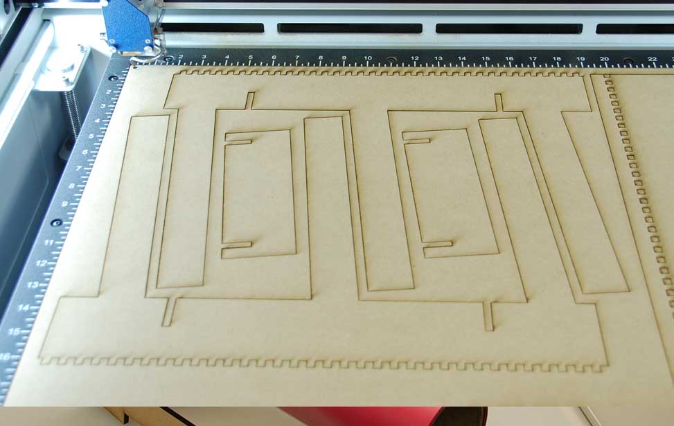 Laser cut mdf pieces.