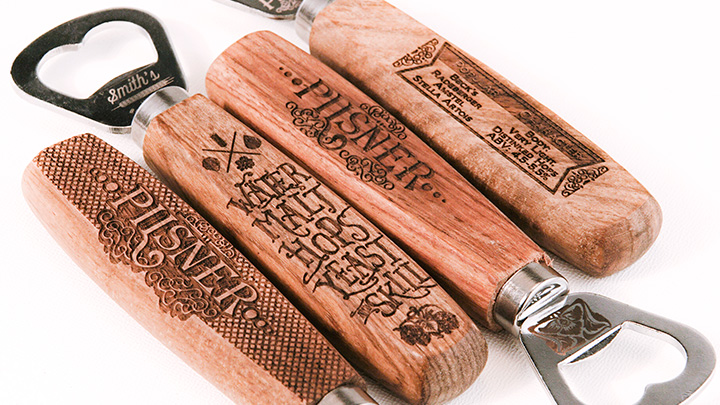 Bottle opener engraved with a laser
