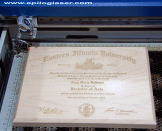 The laser engraved, maple plaque.