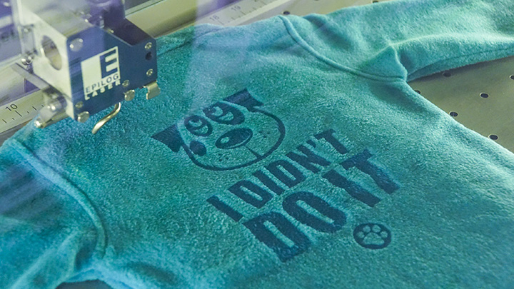 laser engraving the fleece jacket