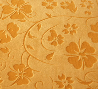 closeup of fabric engraving