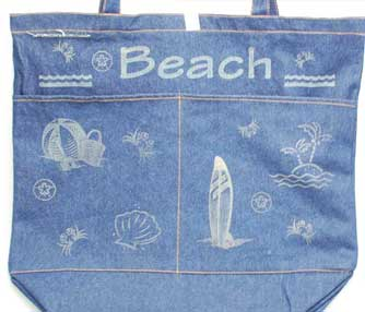 denim beach bag.